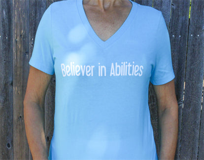 Believer in Abilities Lighthouse - Women's V-Neck Short Sleeve T-Shirt-Turquoise