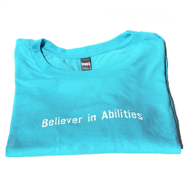 Believer in Abilities Lighthouse - Teal Long Sleeve Unisex Cotton Blend Tee