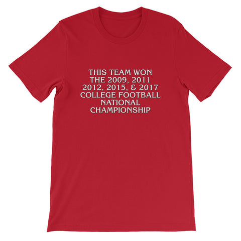 """This Team Won The 2009, 2011, 2012, 2015 & 2017 College Football National Championship"" T-shirt!"