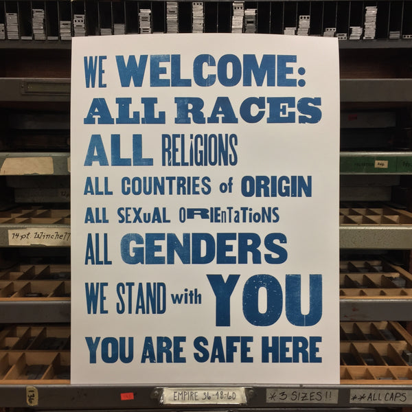 """We Welcome:..."" Blue on White Print"