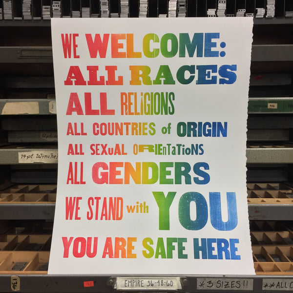 """We Welcome:..."" Rainbow Roll on White"