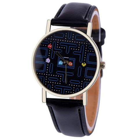 Casual Womens Leather PAC-MAN Wrist Watch