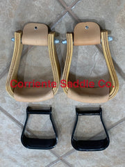 #05 Wooden Sloped Stirrups And Black Aluminum Barrel Stirrups