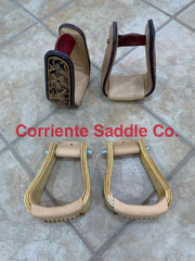 #06 Wooden Sloped Stirrups And Antique Double Flower Leather Covered Stirrups