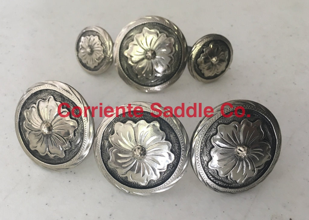 CBCONCH 115 Silver Flower Conchos - Corriente Saddle