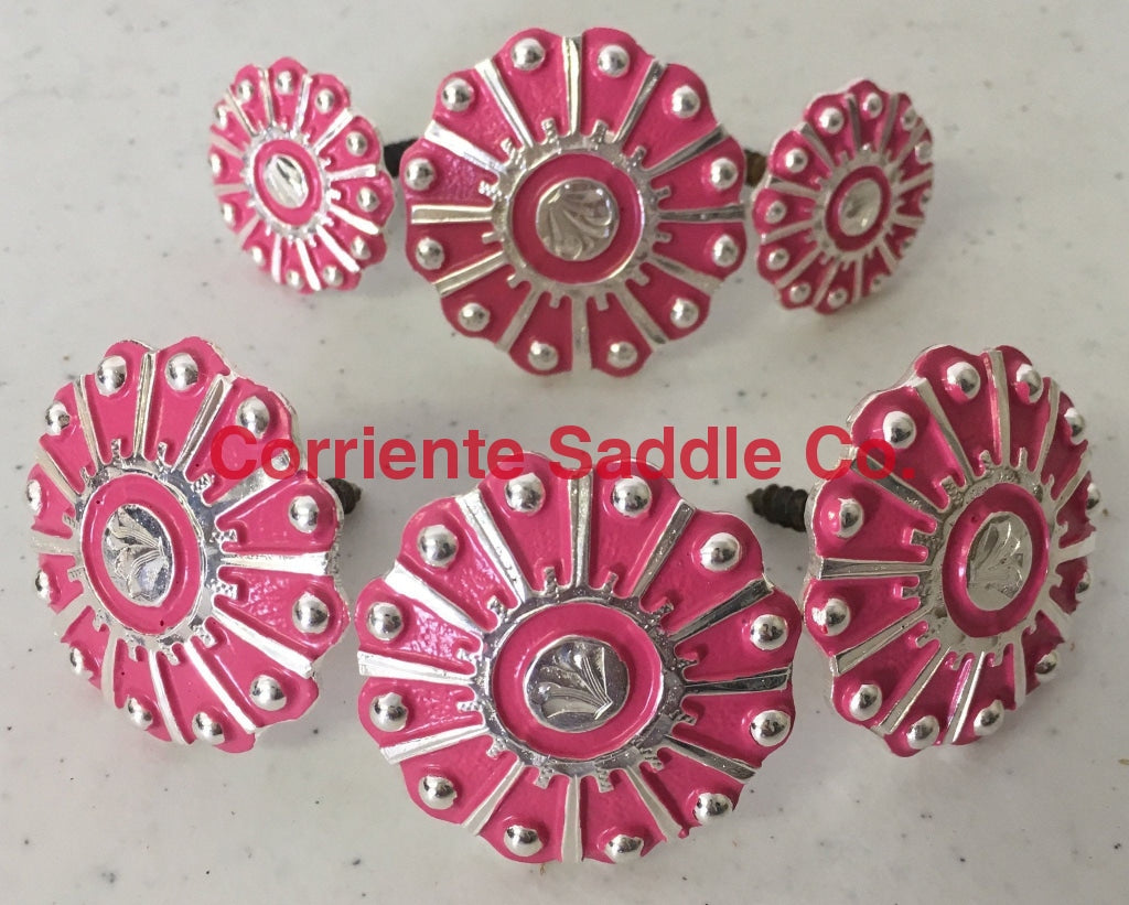 CBCONCH 118 Pink Wagon Wheel Conchos - Corriente Saddle