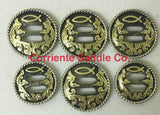 CBCONCH 143 Brass Jesus Fish Slotted Conchos - Corriente Saddle