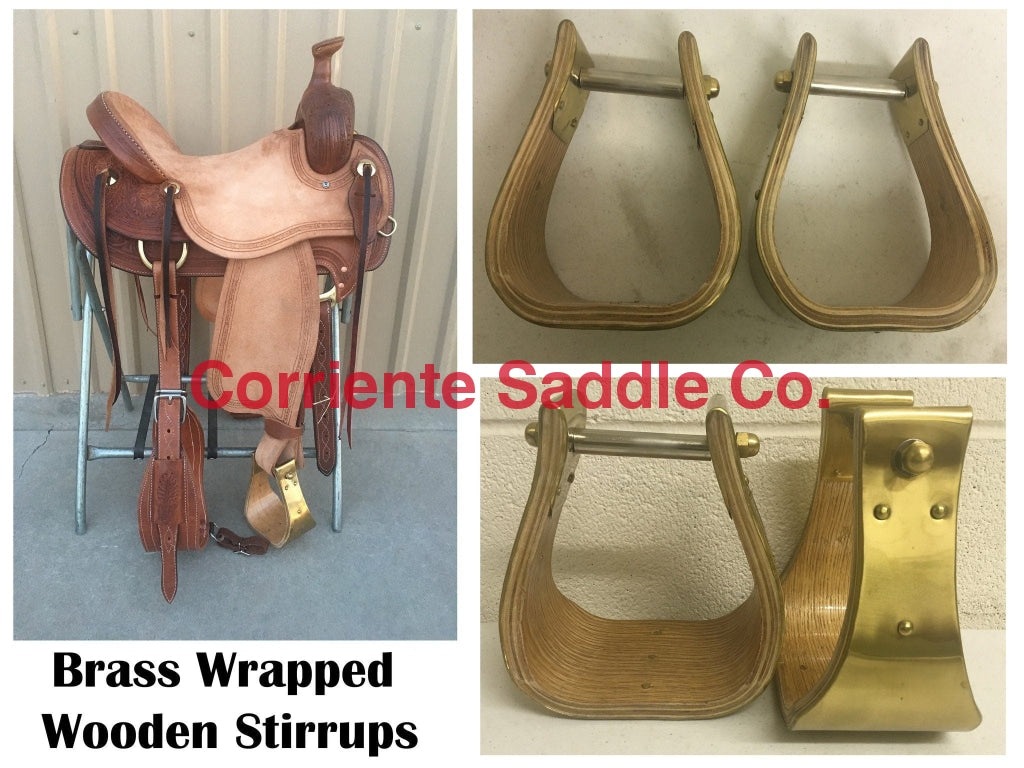 "CSSTIRRUP 104 Wooden Brass Wrapped Stirrups 4"" Tread - Corriente Saddle"