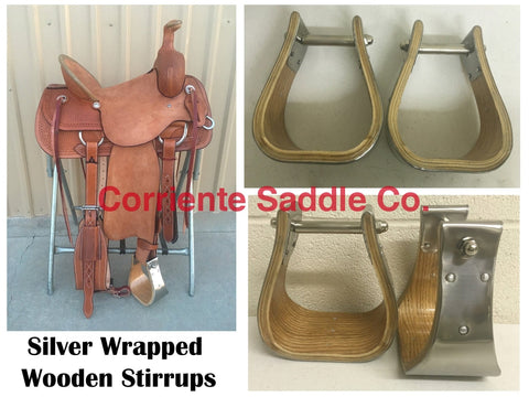"CSSTIRRUP 106 Wooden Silver Wrapped Stirrups 4"" Tread"