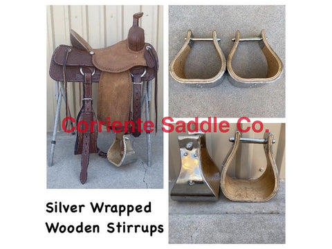 "CSSTIRRUP 107 Wooden Silver Wrapped Stirrups 5"" Tread"