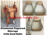 CSSTIRRUP 111 Aluminum Engraved With Card Suits - Corriente Saddle