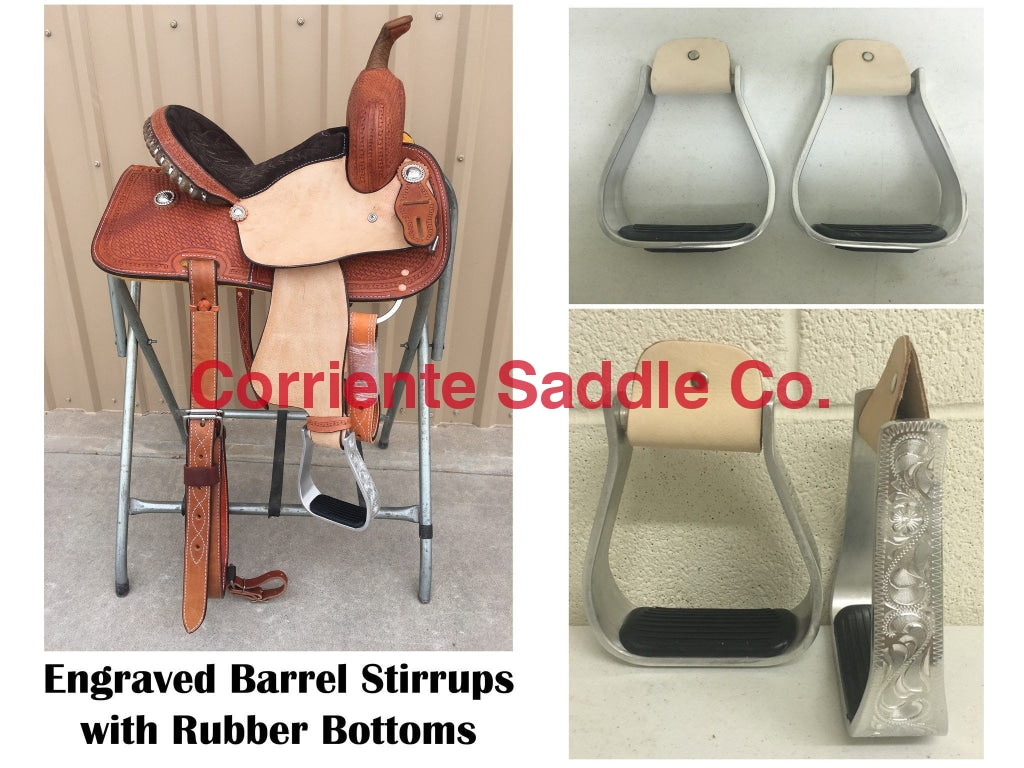 CSSTIRRUP 114 Engraved Aluminum Barrel Stirrups - Corriente Saddle