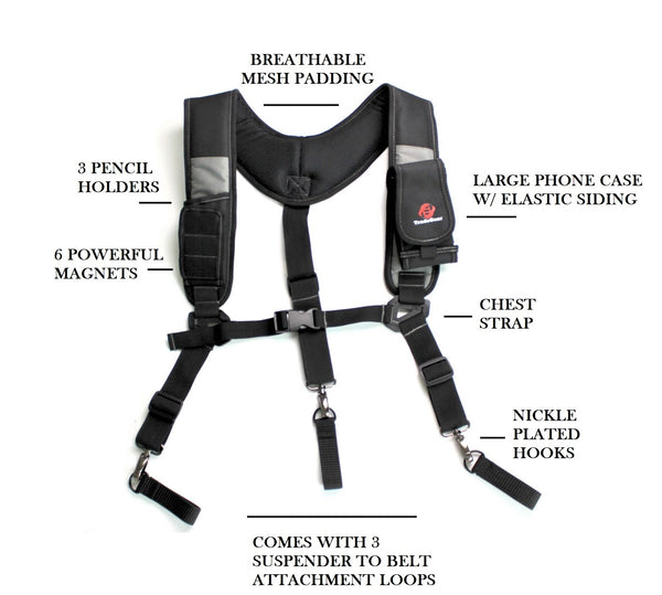 TradeGear Magnetic 3 point suspenders Designed for Maximum Comfort and Durability - TradeGear