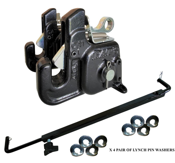 Pat's Easy Change with Stabilizer Bar - Best Quick Hitch System On The Market – Flexible, Durable and Affordable (CAT #1 Black)