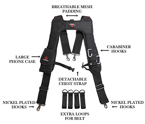 TradeGear Tool Belt Suspenders w/Chest Strap and Phone Case