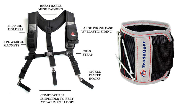 TradeGear Magnetic 3 Point Suspender Bundled with Magnetic Wristband Tool Holder - TradeGear