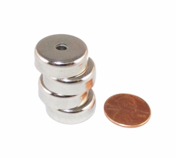 Manic Magnets - (4 Pack) 20 Lb. Pull Force, Countersunk Hole for #8 Bolt Size, Rare Earth Neodymium (N35) - TradeGear