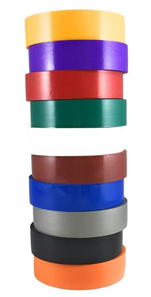 "TradeGear Assorted Rainbow Electrical Tape GLOSSY, 10 Pk Colored Durable Adhesive, Waterproof PVC, Rubber Resin, UL Listed, 60' x ¾"" x 0.07"", Suitable for Use At No More Than 600V and 80°C"