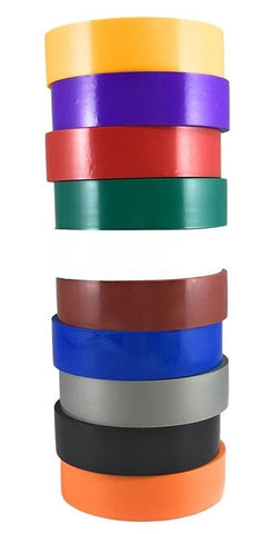 "TradeGear Electrical Tape Assorted GLOSSY – 10 Pk Waterproof, Rubber Based Adhesive, UL Listed - Rated for Max. 600V & 80oC Use - 60' x ¾"" x 0.07"" - TradeGear"