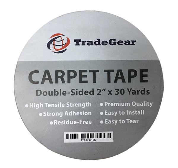 "TradeGear Double Sided Carpet Tape - 2"" x 30 Yards High Tensile Strength Rug Tape, Strong Adhesion, Durable, Residue Free, Easy to Install & Peel Off - TradeGear"