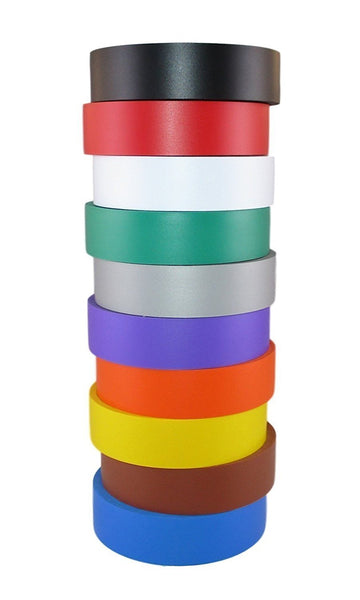 "TradeGear Electrical Tape Assorted MATTE Rainbow Colors – 10 Pk Waterproof, Flame Retardant, Strong Rubber Based Adhesive, UL Listed - Rated for Max. 600V and 80oC Use – Measures 60' x ¾"" x 0.07"" - TradeGear"