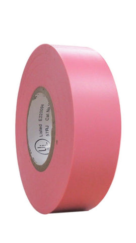 "TradeGear SINGLE ROLL PINK MATTE Electrical Tape, Colored Durable Adhesive, Waterproof PVC, Rubber Resin, UL Listed, 60' x ¾""x 0.07"", Suitable for Use At No More Than 600V and 80°C - TradeGear"