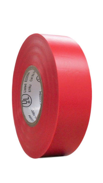 "TradeGear SINGLE ROLL RED MATTE Electrical Tape, Colored Durable Adhesive, Waterproof PVC, Rubber Resin, UL Listed, 60' x ¾""x 0.07"", Suitable for Use At No More Than 600V and 80°C - TradeGear"
