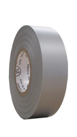 "TradeGear SINGLE GRAY MATTE Electrical Tape, Waterproof PVC, Rubber Resin, UL Listed, 60' x ¾""x 0.07"", Suitable for Use At No More Than 600V & 80°C - TradeGear"