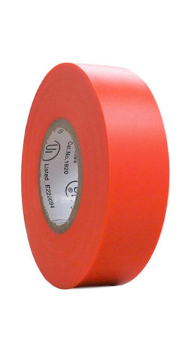 "TradeGear SINGLE ROLL ORANGE MATTE Electrical Tape, Colored Durable Adhesive, Waterproof PVC, Rubber Resin, UL Listed, 60' x ¾""x 0.07"", Suitable for Use At No More Than 600V and 80°C - TradeGear"