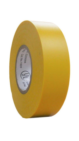 "TradeGear SINGLE ROLL YELLOW MATTE Electrical Tape, Colored Durable Adhesive, Waterproof PVC, Rubber Resin, UL Listed, 60' x ¾""x 0.07"", Suitable for Use At No More Than 600V and 80°C - TradeGear"