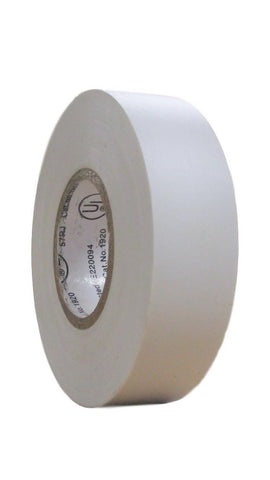"TradeGear SINGLE ROLL WHITE MATTE Electrical Tape, Colored Durable Adhesive, Waterproof PVC, Rubber Resin, UL Listed, 60' x ¾""x 0.07"", Suitable for Use At No More Than 600V and 80°C - TradeGear"