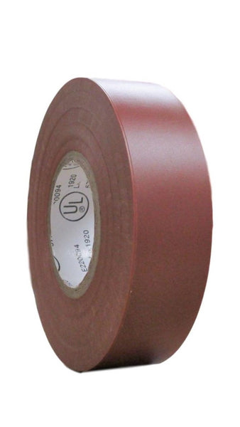 "TradeGear SINGLE ROLL BROWN MATTE Electrical Tape, Colored Durable Adhesive, Waterproof PVC, Rubber Resin, UL Listed, 60' x ¾""x 0.07"", Suitable for Use At No More Than 600V and 80°C - TradeGear"
