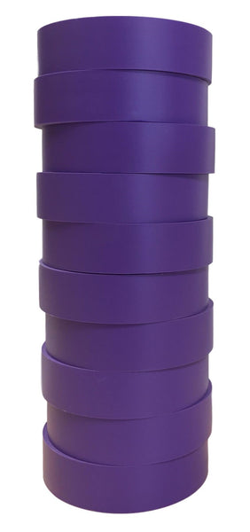 "TradeGear Purple Electrical Tape Matte 10 Pk - Waterproof PVC, Rubber Resin, UL Listed, 60' x ¾"" x 0.07"", Suitable for Use At No More Than 600V & 80°C - TradeGear"