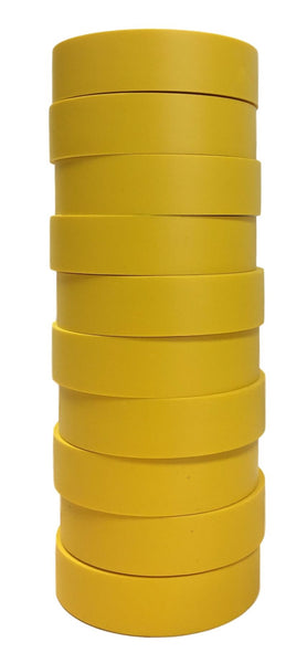 "TradeGear Yellow Electrical Tape Matte 10 Pk - Waterproof PVC, Rubber Resin, UL Listed, 60' x ¾"" x 0.07"", Suitable for Use At No More Than 600V & 80°C - TradeGear"