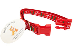Christmas Theme Dog Collar Winter Reindeer Red