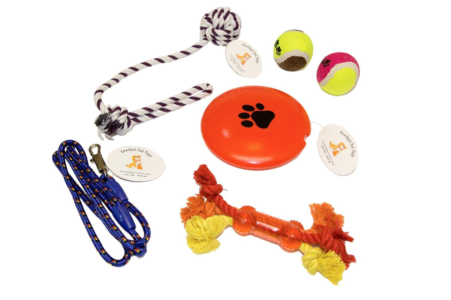 Squeaker Disc Tennis Ball Teether Bone Rope Leash & Rope Bundle