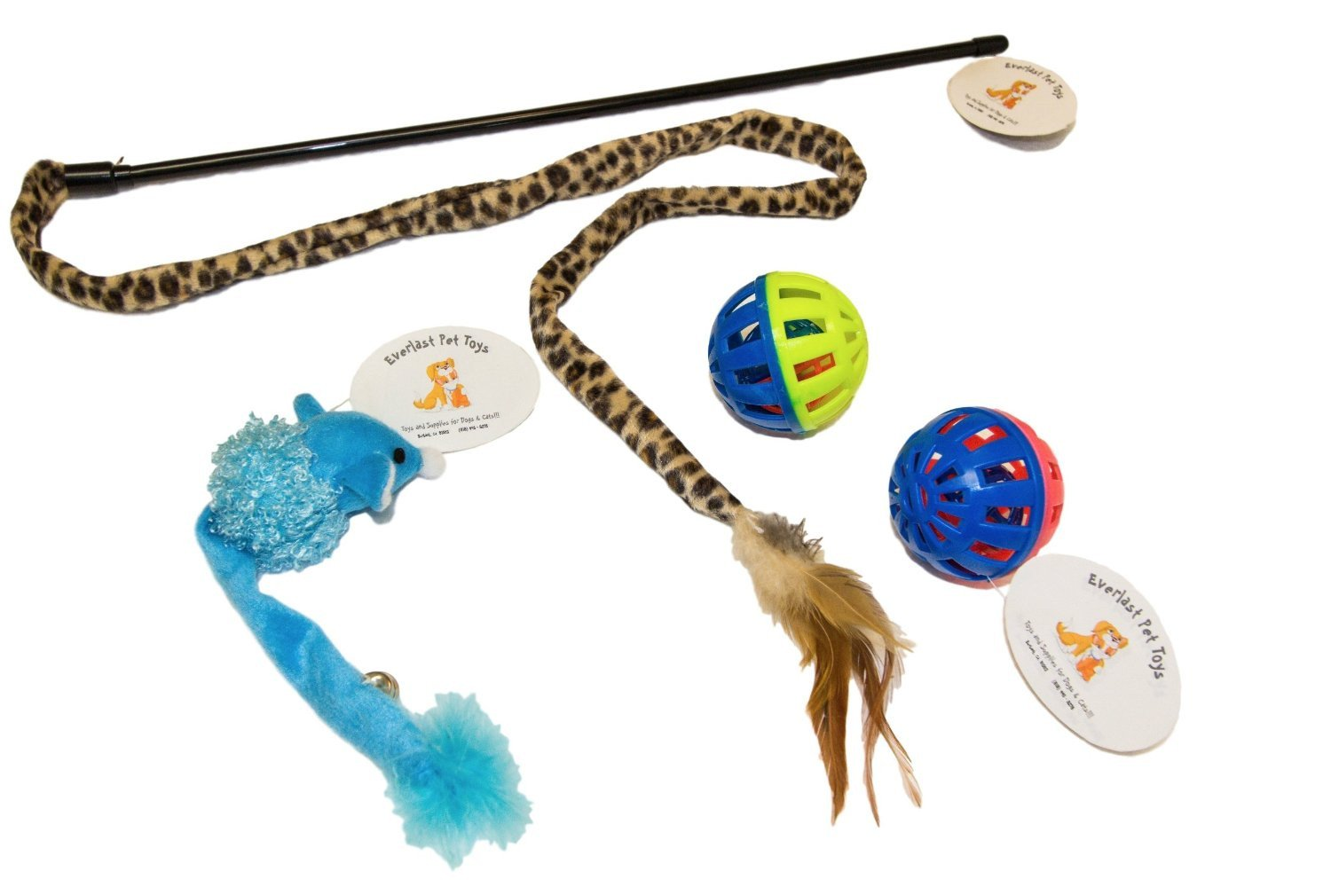 Cat Teaser Feathered Bell Tail Mouse & (2) Bell Ball Toys