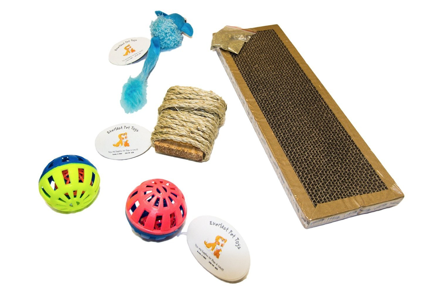 Scratching Pad Longtail Mouse (2) Bell Balls & 10' Sisal Rope