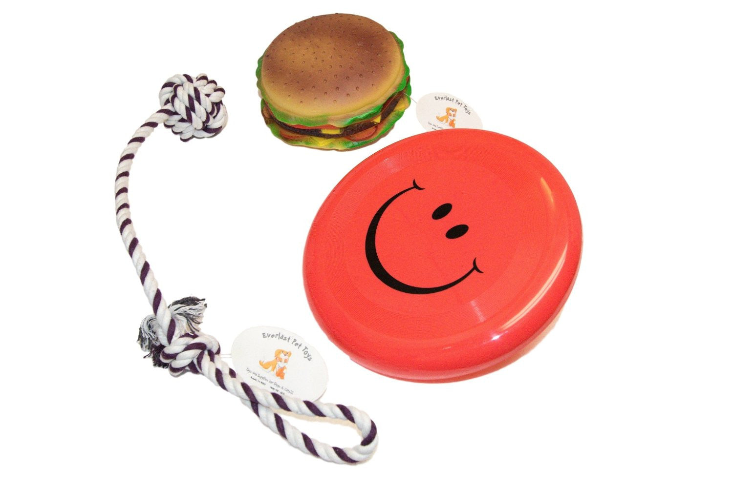 Hamburger Squeak Toy w Pull Rope & Flying Disc