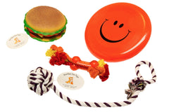 Cheeseburger Squeaker Flying Disc & Rope Bundle