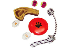'Juicy' Steak Squeaker Pull Rope Squeaker Disc & (2) Tennis Ball Toys