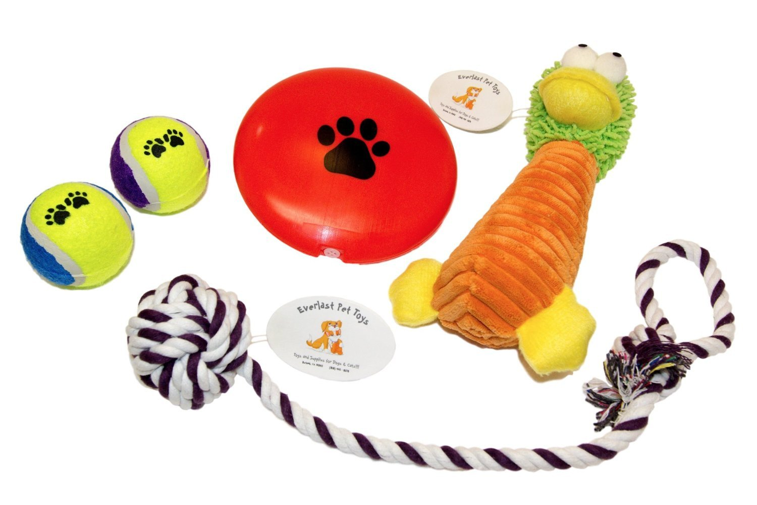Plush Doll Squeaker Disc (2) Tennis Ball Toys & Knotted Ball Pull Rope