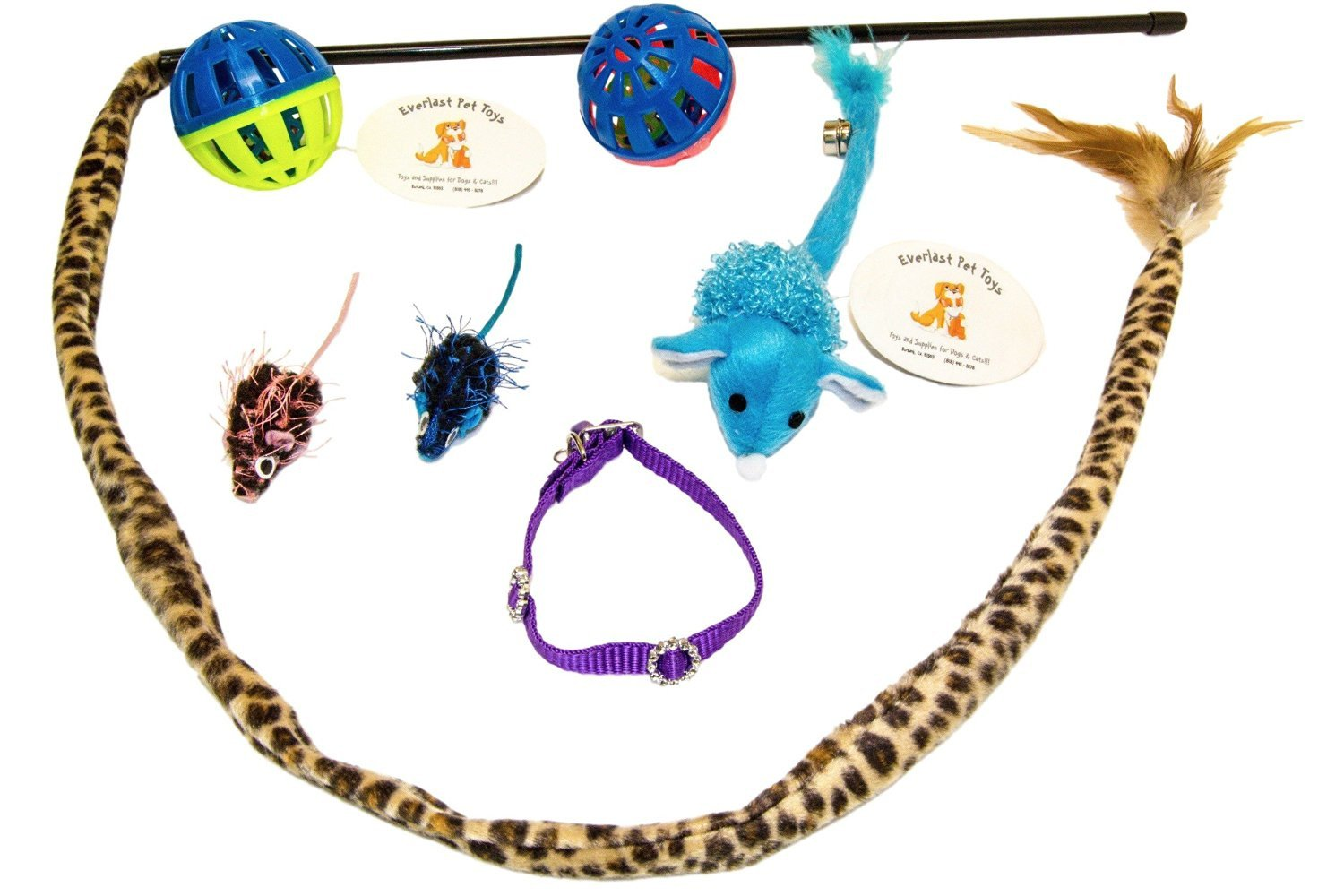 Cat Teaser Mice & Bell Balls w Rattle Mice & Collar Bundle