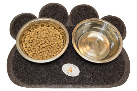 Anti-Slip Feeding Station - Silver Bowls & Rubber Based Mat