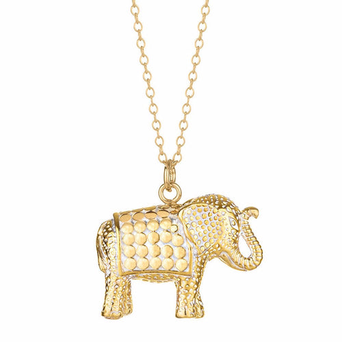 Gold Elephant Pendant Necklace - 30""