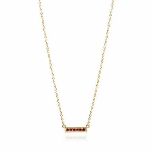 Garnet Pavé Bar Stacking Necklace