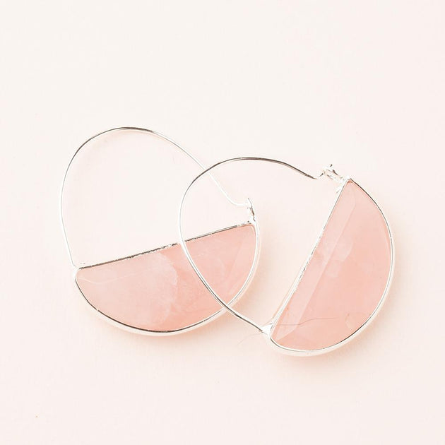 Stone Prism Hoop in Rose Quartz/Silver