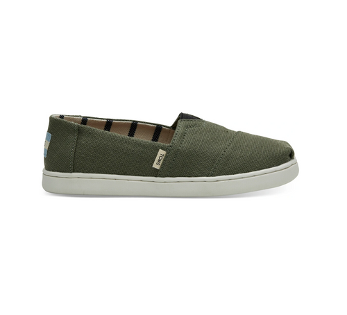 Olive Green Heritage Canvas Kid's Classic Slip-Ons