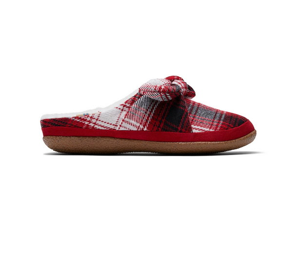 Red Plaid and Bow Women's Ivy Slippers