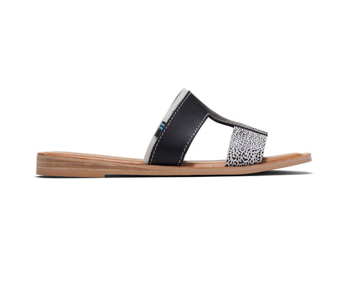 Black Leather Mini Leopard Women's Seacliff Sandals